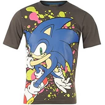 Sonic Print T Shirt Junior Charcoal 9-10 (MB)