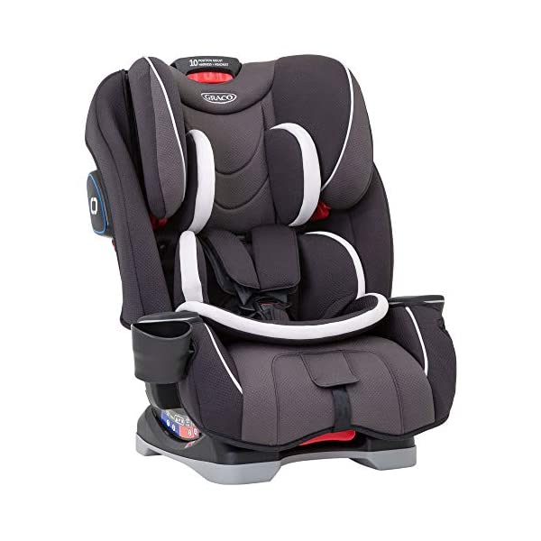 Graco Slimfit All-in-One Car Seat, Group 0+/1/2/3, Pearl Grey Graco 3 in 1 car seat can be used from birth up to 36 kg (approximately 12 years). rearward facing for longer from birth to approx. 4 years (0-18kg) Easily converts to and from the three riding positions; rear-facing harnessed seat (0-18kg), to forward-facing harnessed seat (9-18kg) and to high back booster (15-36kg) True shield safety surround side impact protection for enhanced safety 2