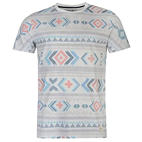 SoulCal Mens Deluxe Aztec T Shirt Tee Top Short Sleeve Crew Neck Summer Casual White/Orange M