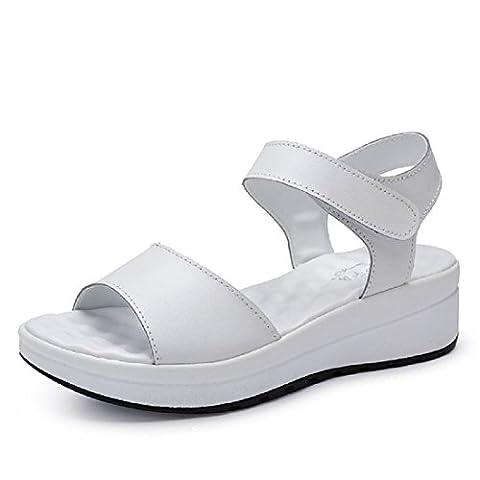 Femmes Fond épais Pompes Des sandales Chaussures plates Chaussures de plage Chaussures décontractées Petite taille et Grande taille EUR TAILLE 31-44 , white , 37