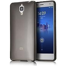 tinxi® Funda de silicona para Xiaomi MI4 Mi4 M4 Caso de silicona TPU caso de la cubierta de la contraportada de silicona protectora caso bolsa transparente y negro fondo