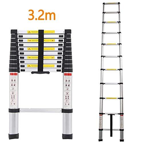 3,2m Échelle Télescopique Échelle Extensible Portable Multifonction Aluminium Echelle Échelle d'extension de loft de 11 étapes