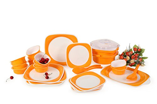 Joy Home Microwave Safe Dinner Set - 32 Pcs (Twin Color, Orange - White)