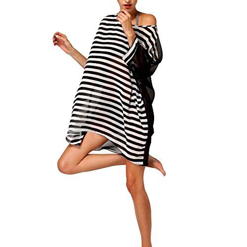 Walant Damen Chiffon Streifen Strandkleid Bikinikleider Elegant Black