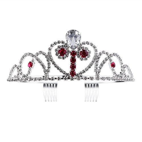 Tinksky Princesse fête Diadème Paillettes Cristal Diamant Filles Couronne avec Side-comb