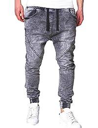 TEBAISE Herren Jeanshosen Jeans Denim Hose Bund und Saum mit Gummizug Lang Bermudas  Hosen FüR MäNner d29bc0193c