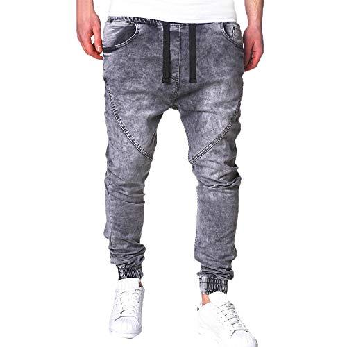 TEBAISE Herren Jeanshosen Jeans Denim Hose Bund und Saum mit Gummizug Lang Bermudas Hosen FüR MäNner Cargo Hose Stretch (Grau,3XL) -
