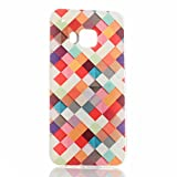 HTC ONE M9 Hülle, HTC M9 Case, Greetrass Weichem Silikon TPU Bumper Case Ultra Dünne Schutzhülle für HTC ONE M9 Handyhülle Handy Tasche Back Cover Rückseite Etui Schutz Schale mit Farben Quadrat Muster -