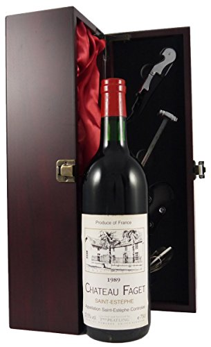 Chateau Faget St Estephe 1989 Vintage Wine in a silk lined wooden box with four wine accessories 1 x 750ml
