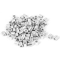 Heimwerker Brillant 4mm Draht Seil Aluminium Aderendhülsen Ärmeln Silber Ton 50 Pcs