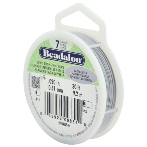 Beadalon 7-Strand Stainless Steel 0.020-Inch Bead Stringing Wire, 30-Feet, Satin Silver by Beadalon