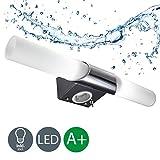 B.K. Licht applique LED salle de bain, lampe miroir salle de bain, plafonnier chrome, lumière blanche chaude, 230V, IP20, 2x5W