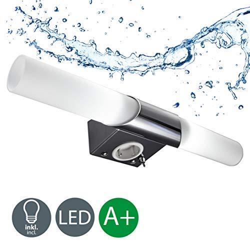 B.K. Licht BKL1021 LED Spiegelleuchte, Chrom, 5 W, Ø 75 mm, 2 Leuchtmittel