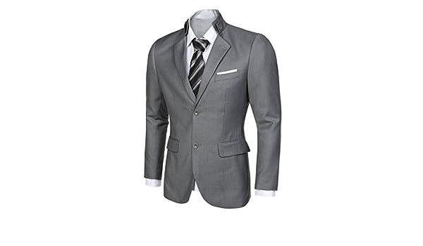CRAVOG Mode Homme Veste De Costume Col Mao Mantant Manche Longue avec Deux  Bouton Col Revers Cintré Blazer Jacket Habillé Mariage Business  Amazon.fr   ... 441d8fae337