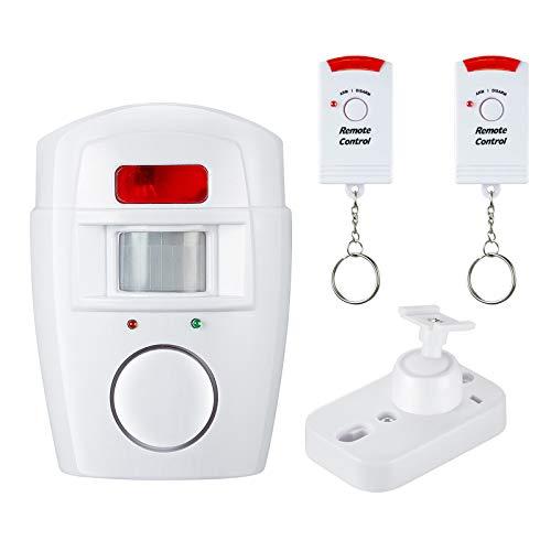 HWLQBH Elektronische Hund 110dB Wireless Home Security Alarmanlage PIR Infrarot-Sensor Diebstahl Bewegungsmelder Mit 2 Fernbedienung,White Alarm Security Bar