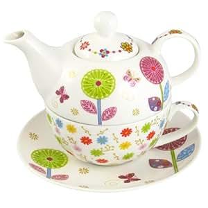tea for one set porzellan teekanne mit tasse teeset in geschenkbox k che haushalt. Black Bedroom Furniture Sets. Home Design Ideas
