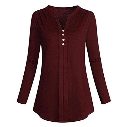 Damen Bluse FORH Frauen Freizeit Langarm V-Ausschnitt Blusenshirt Elegante Solide Farbe Hemd Falten T-Shirt Stretch Tunika Beiläufige langarmshirt Loose sweatshirt T-Shirt Tops (Rot, L)