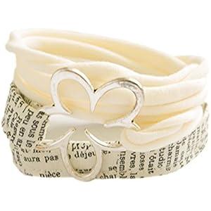 Wickelarmband Stoff in cremeweiß - breites Armband - onesize - Stoffarmband zum Wickeln - Handmade - Endlosarmband mit Metallelement große Blume - stretch - endlos - ohne Verschluss