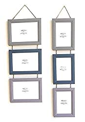 Triple Photo Picture Solid Wood Frame Wall Hanging with 3 Colours in 2 Sizes. Beige, Blue, Lilac. Made to Order by MYuniqueDECOR
