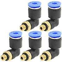 YUNB 5 Piezas de Tubo de 4 mm de diámetro Exterior de 5 mm M Rosca de Montaje Codo Neumáticos Conector rápido