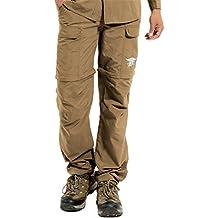 Hilarocky Pantalones Hombres Largo / Corto Impermeable Senderismo Táctico Camuflaje Secado Rápido Fino y Transpirable para Primavera y Verano Caqui L