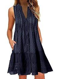 Jaysis Vestito Donna Eleganti Colore Solido Abito Senza Maniche Sexy Mini Abito da Sera Moda Cerimonia Corti Vestito Estivo Partito Cocktail Vintage Gonna Slim Abito Accogliente Gonna Dress