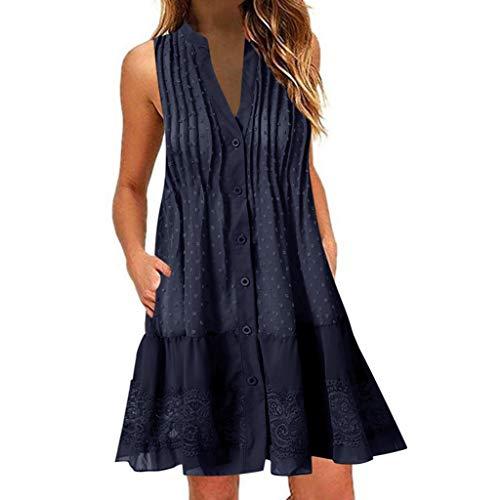 FeiBeauty Kleider Damen Sommer Boho V-Ausschnitt ärmelloses Minikleid Spitzen-Patchwork Strandkleid Mit Knopf Weiß, Blau, Pink, Khaki S-3XL (Shirt Check Kleid)