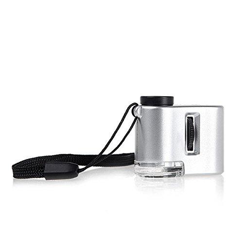 EgoEra® Mini 60x Taschenmikroskop Mikroskop Juwelier Schmuck Lupe Glas LED Licht mit Währung Erfassen Funktion