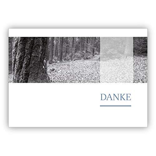 16 Schwarz Weiß Foto Trauer Dankeskarte mit friedlichem Wald: Danke • Premium Danksagung mit Umschlag nach Trauer, Tod, Beerdigung, Sterbefall, Begräbnis