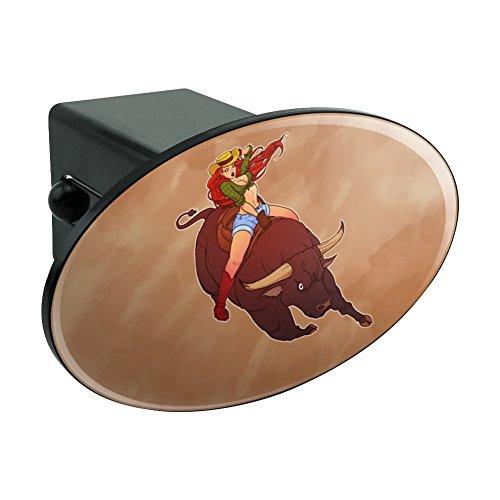 Grafiken und mehr Cowgirl Pinup Reiten, Bull Rodeo oval Serie Tow Hitch-Anhänger mit2