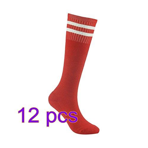 12x Demarkt Fußball Socken Sport Socken Volleyballsocken Stutzenstrumpf Tanzensocken für Damen und Herren gute Elastizität Streifen Rot