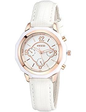 INWET Damen Armbanduhr,Beige Leder Armband,Rose Gold Gehäuse