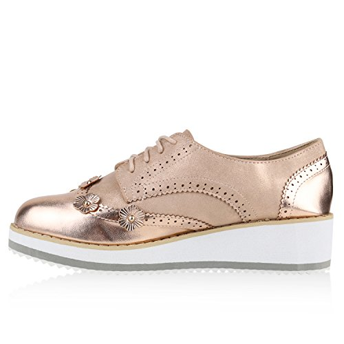 Damen Halbschuhe Dandy Style Brogues Profilsohle High Fashion Rose Gold Blümchen