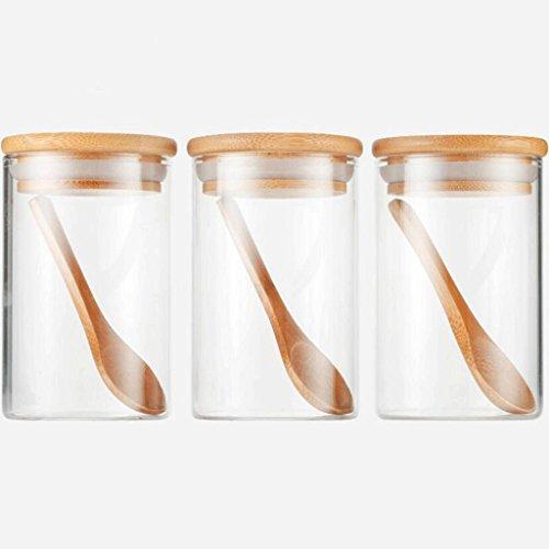 YYF Verre de cuisine scellé étanche à l'humidité bouteille d'assaisonnement Salt Bowl avec cuillère boîte d'assaisonnement Saison transparente bouteille