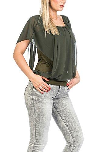 FreyFashion - Made in France Hochwertiges Damen Shirt Tunika Bluse T-Shirt Top Kurzarm, Stark Reduziert Khaki