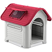 4567 Caseta en forma de casa para perro PROLABZOO con toma de aire 72x75X85CM - Rojo