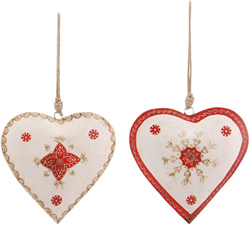 dekorativer Anhänger Herz Metallherz handbemalt creme-rot Preis für 2 Stück -