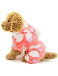 SELMAI Pequeño perro pijama de terciopelo con capucha Jumpsuit de cuatro piernas Pantalones de suave amor Corazones de invierno Ropa para mascotas trajes de ropa para el pequeño gato Puppy Pink XXL