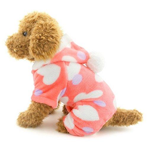 selmai Kleiner Hund Schlafanzüge Samt Hoodie Jumpsuit four-legs Hose weich love Herzen Winter Haustier Kleidung Outfits Apparel für kleine Katze Puppy ()