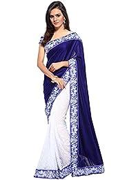 Jency Fashion Women's Satin Saree With Blouse Piece (Blue)