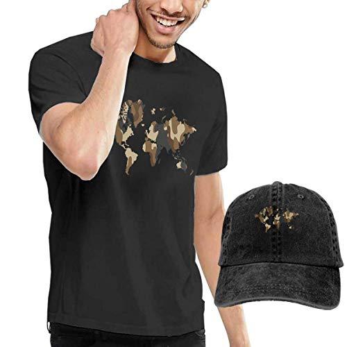 Herren Kurzarmshirt,T-Stücke,World Map Short Sleeve T-Shirts Black (with A Cap) ComfortSoft Man's T Shirts Graphic Funny Round Neck Tee Basketball Hats Combination (Graphic T-shirt Sleeve Short Basketball)
