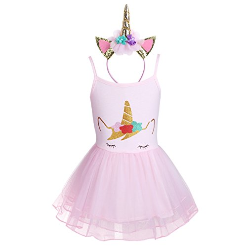 Girls Pink Ballet Unicorn Dress with Headband - 6 to 24 months