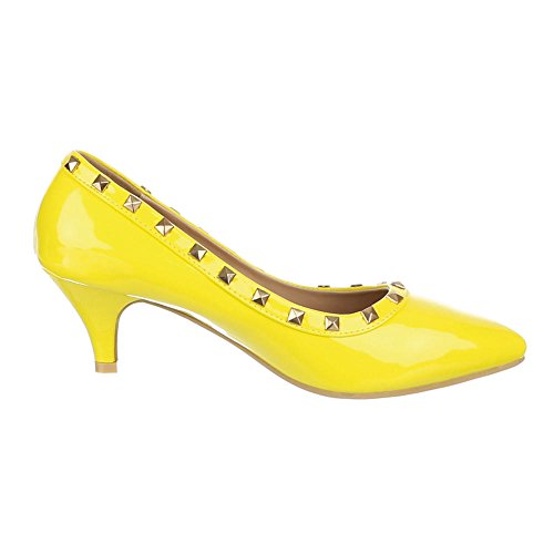 Damen Schuhe, MJ15553, PUMPS NIETEN BESETZTE Gelb