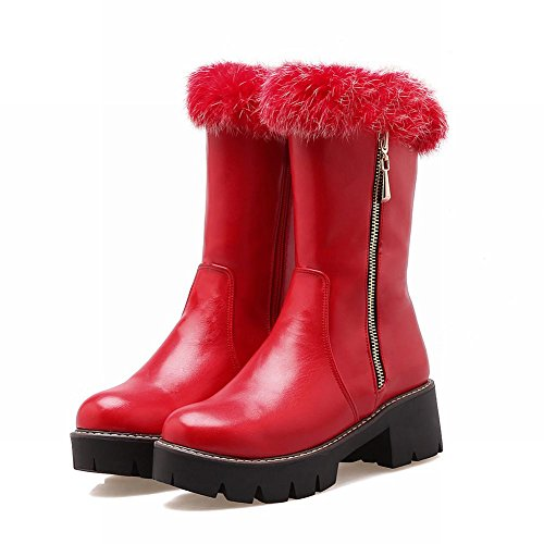 Mee Shoes Damen Reißverschluss chunky heels Plateau Stiefel Rot