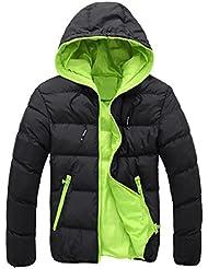 Sannysis Abrigo de invierno de esquí para hombre algodón de chaquetas, chaquetas gruesas de invierno con capucha (Verde, 2XL)