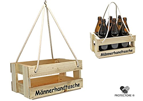 protectore Bierträger - Flaschenträger - Männerhandtasche - Getränkekorb - Sixpack - Leer - Geschenkidee - Flaschenkiste