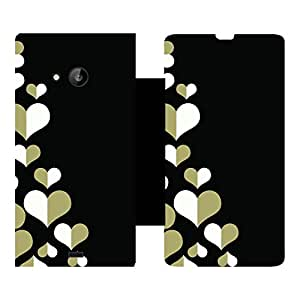 Skintice Designer Flip Cover with Vinyl wrap-around for Microsoft Lumia 535, Design - Heart Pattern