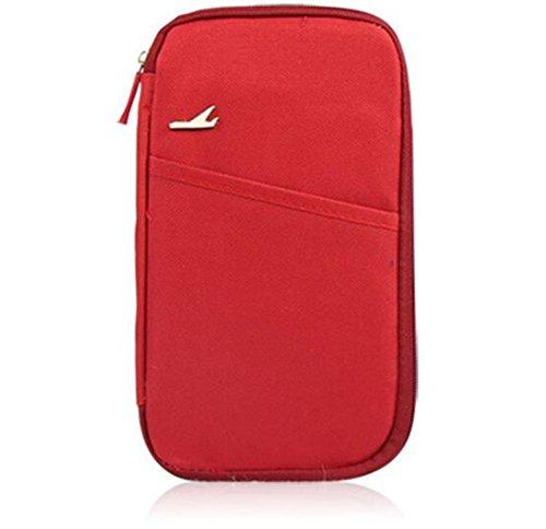 Cartera de Viaje, Organizador Bolsa Funda de Nylon con Cremallera para Documento Pasaporte Billete Tarjeta Unisex, Rojo