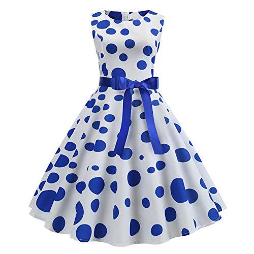 Polka Dot Print Women Summer Dress Sleeveless Vintage Swing Dress New Casual Office Ladies A Line Elegant Work Dress Plus Size B002 M -