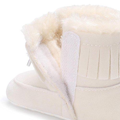 Bild von FNKDOR Baby Schuhe Kinder Mädchen Jungen Baumwolle Stiefel Warm Schneestiefel (0-6 Monate, Weiß)